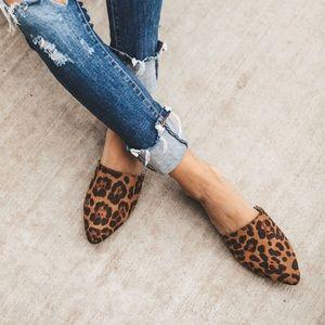 Shoes - Camel leopard prints slip on mules women's shoes
